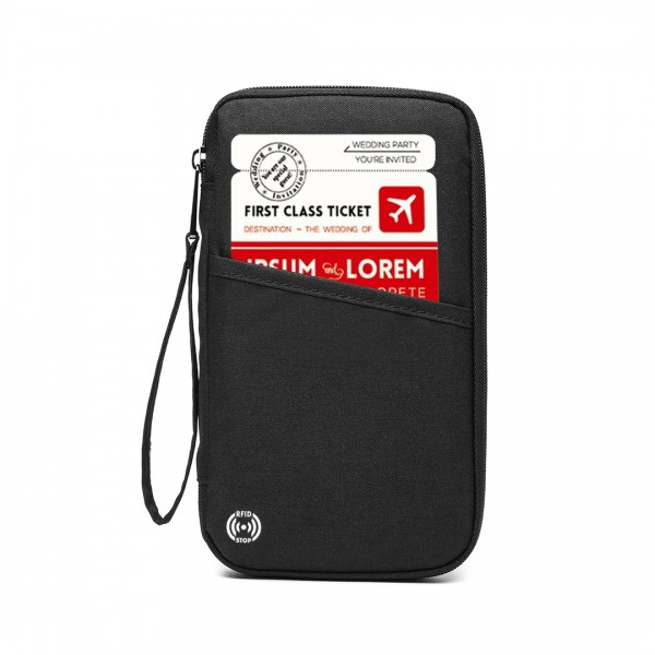 E1968 - Kono RFID-Blocking Travel Wallet - Black