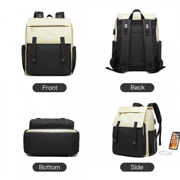 E1970 - Kono Multi Compartment Baby Changing Backpack with USB Connectivity - Black
