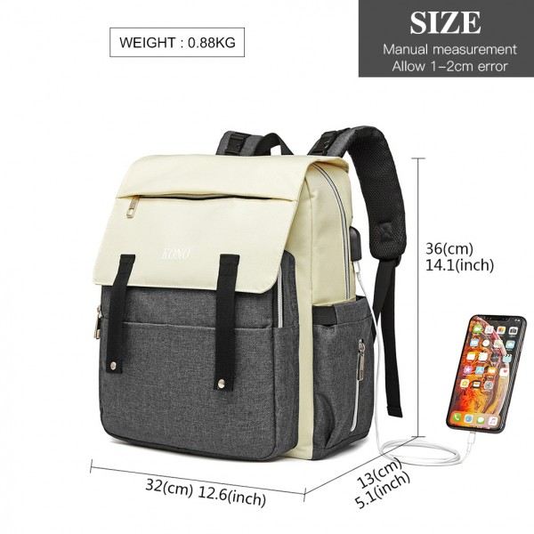 E1970 - Kono Multi Compartment Baby Changing Backpack with USB Connectivity - Grey