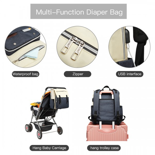 E1970 - Kono Multi Compartment Baby Changing Backpack with USB Connectivity - Navy