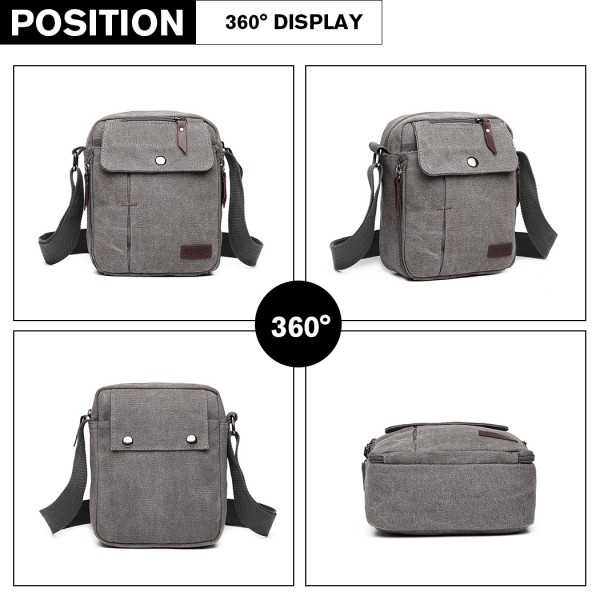 E1971 - KONO MULTI POCKET CROSS BODY SHOULDER BAG - GREY