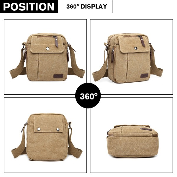 E1971 - KONO MULTI POCKET CROSS BODY SHOULDER BAG - KHAKI