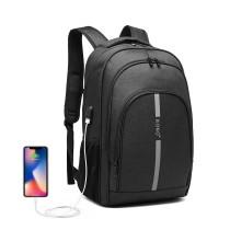 E1972 - Kono Duży plecak z odblaskowym paskiem i USB Charging Interfejs - Black
