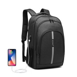 E1972 - Sac à dos Kono Large avec bande réfléchissante et interface de chargement USB - Noir