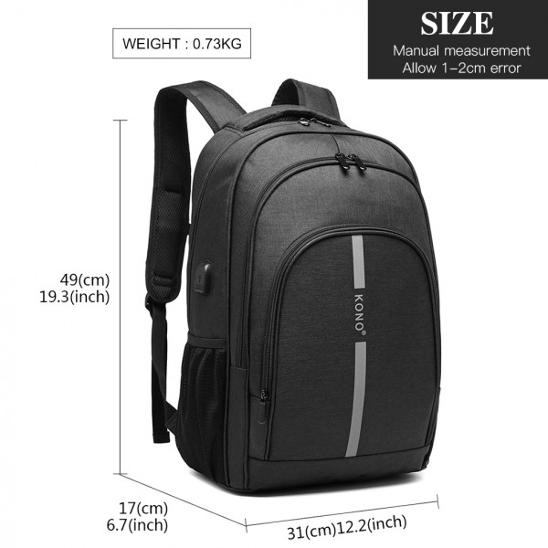 E1972 - Kono Large Backpack with Reflective Stripe and USB Charging Interface - Black