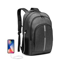 E1972 - Kono Duży plecak z odblaskowym paskiem i interfejsem USB Charging- Grey