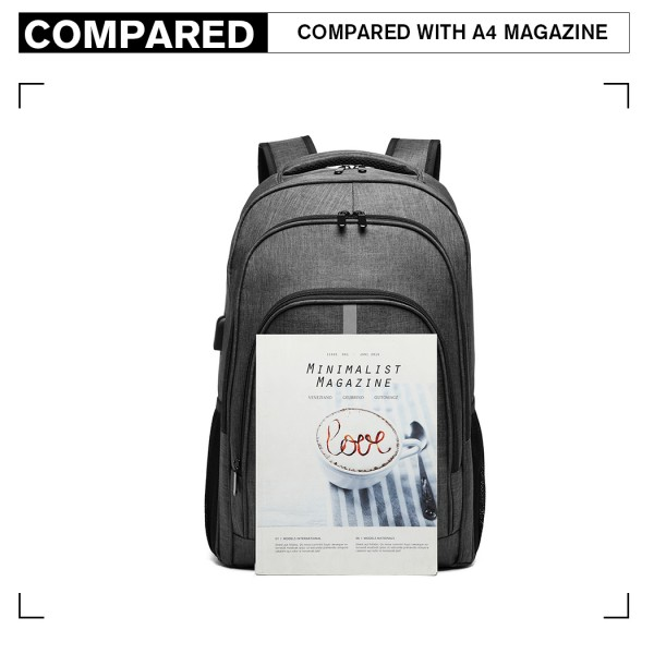 E1972 - Kono Large Backpack with Reflective Stripe and USB Charging Interface - Grey