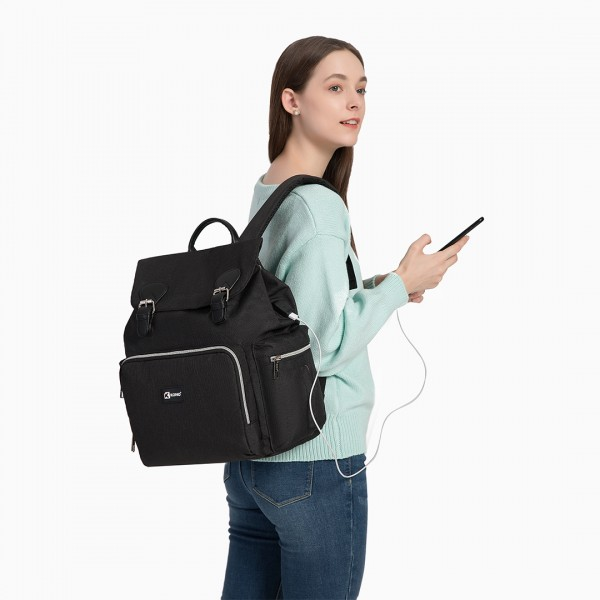 E1976 - Kono Travel Baby Changing Backpack with USB Charging Interface - Black