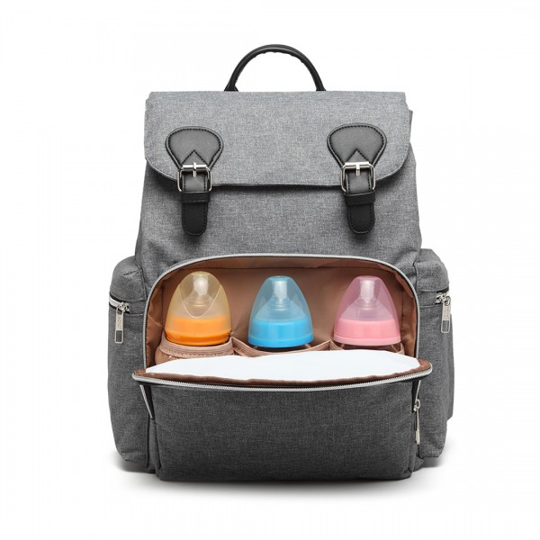E1976 - Kono Travel Baby Changing Backpack with USB Charging Interface - Grey