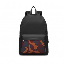 E1977 - Kono Camouflage Pocket Backpack - Black