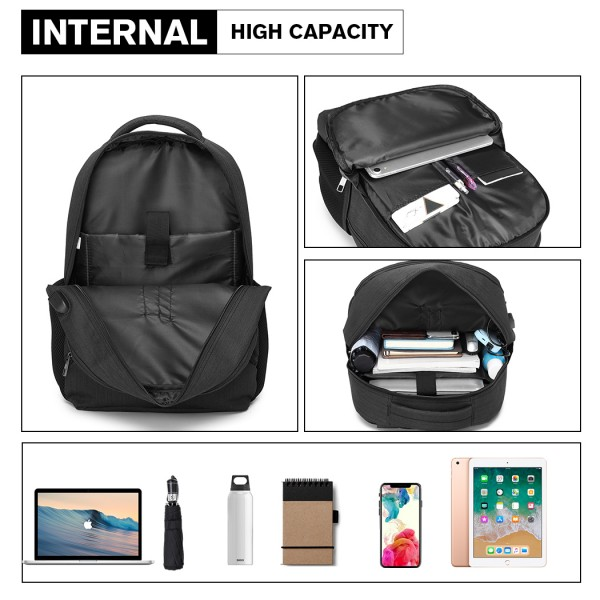 E1978 - Kono Multi Compartment Backpack with USB Connectivity - Black