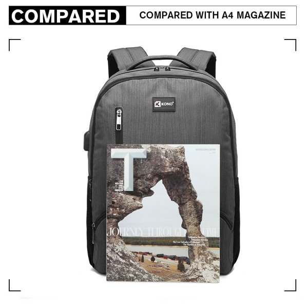 E1978 - Kono Multi Compartment Backpack with USB Connectivity - Grey