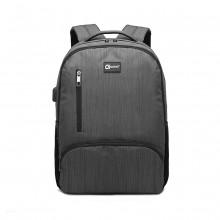 E1978 - Kono Rucksack mit mehreren Fächern und USB-Anschluss - Grau