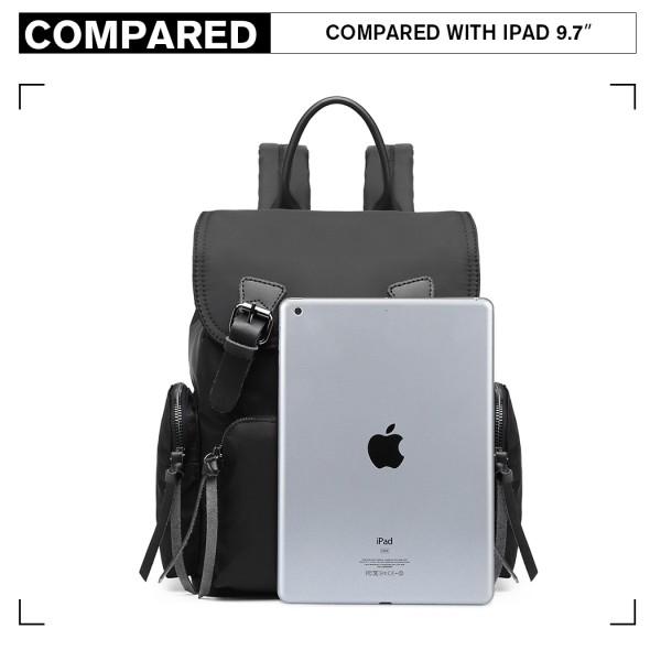 E1979 - Kono Nylon Satchel Style Backpack - Black