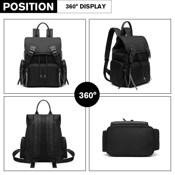 E1979 - Kono Nylon Satchel Style Backpack - Black