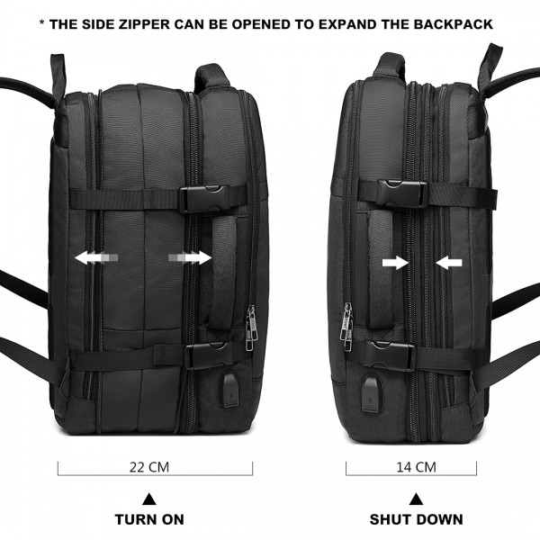 E2014 - Kono Water Resistant Expandable Travel Backpack - Black