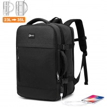 E2014 - Kono Water Resistant Expandable Travel Backpack - Black