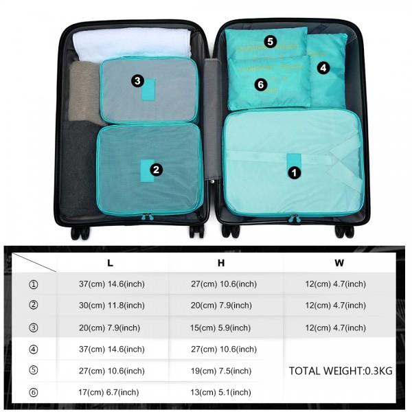 E2015 - Kono 6 Piece Polyester Travel Luggage Organiser Bag Set - Blue