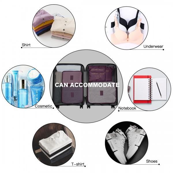 E2015 - Kono 6 Piece Polyester Travel Luggage Organiser Bag Set - Burgundy