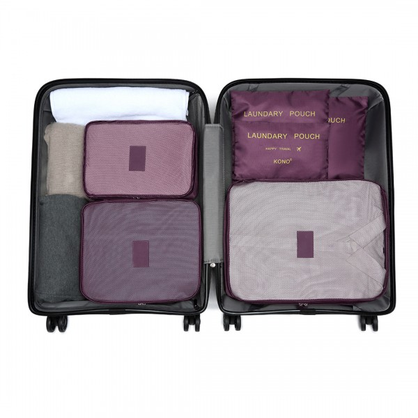 E2015 - Kono 6 Piece Polyester Travel Luggage Organiser Bag Set - Burgundy
