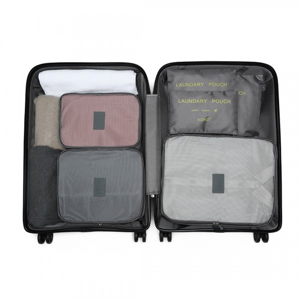 E2015 - Kono 6 Piece Polyester Travel Luggage Organiser Bag Set - Grey
