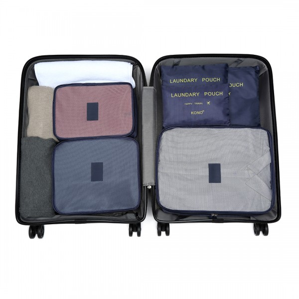 E2015 - Kono 6 Piece Polyester Travel Luggage Organiser Bag Set - Navy Blue