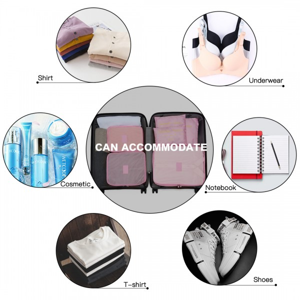 E2015 - Kono 6 Piece Polyester Travel Luggage Organiser Bag Set - Pink