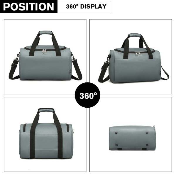 E2016 - Kono Structured Travel Duffle Bag - Grey