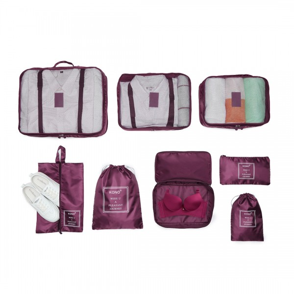 E2019 - Kono 8 Piece Polyester Travel Luggage Organiser Bag Set - Burgundy