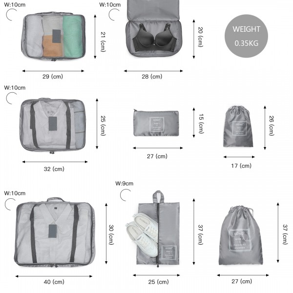 E2019 - Kono 8 Piece Polyester Travel Luggage Organiser Bag Set - Grey