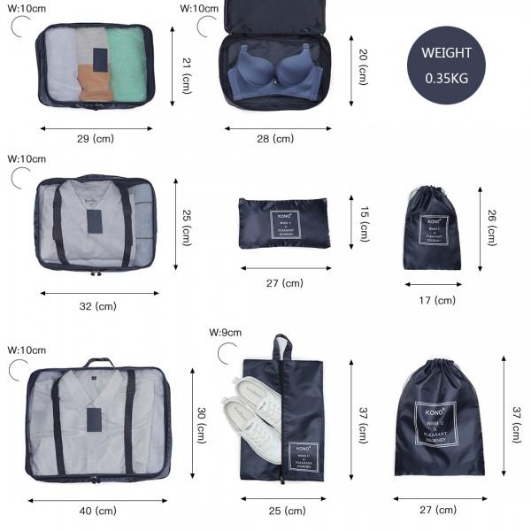 E2019 - Kono 8 Piece Polyester Travel Luggage Organiser Bag Set - Navy Blue
