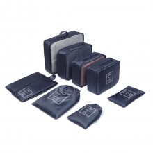 E2019 - Kono 8 Piece Polyester Travel Luggage Organiser Bag Set - Navy Blue