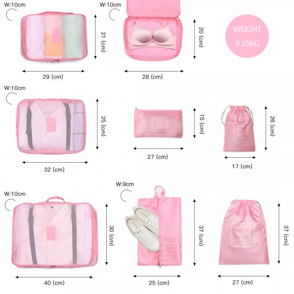E2019 - Kono 8 Stück Polyester Reisegepäck Organizer Bag Set - Rosa