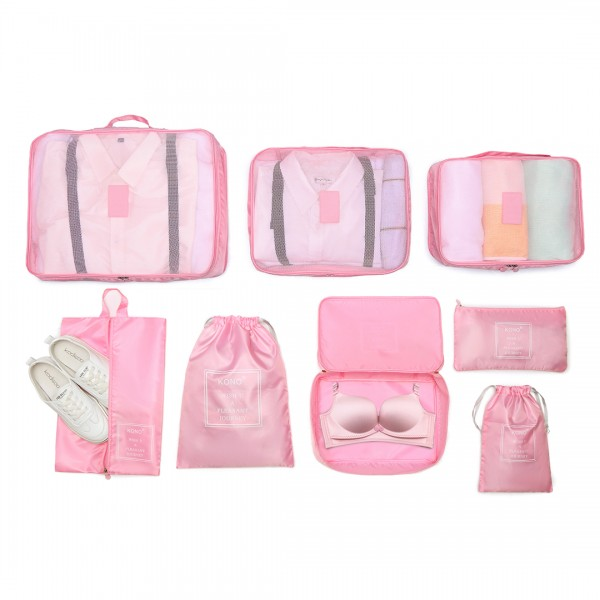 E2019 - Kono 8 Piece Polyester Travel Luggage Organiser Bag Set - Pink