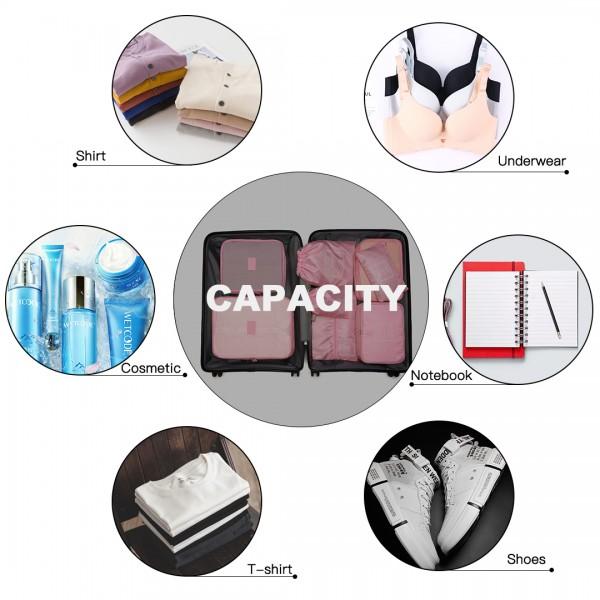 E2019 - Kono 8 Piece Polyester Travel Luggage Organiser Bag Set - Pink