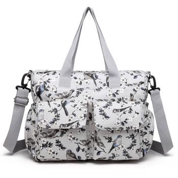 E6603-16J - MISS LULU MATTE OILCLOTH MATERNITY BABY CHANGING BAG SET BIRD PRINT GREY