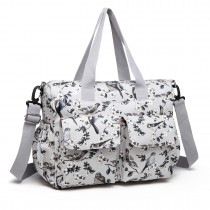 E6603-16J - Miss Lulu Matte Oilcloth Maternity Baby Changing Bag Set Bird Print Grey