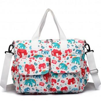 E6603NEW-E - Miss Lulu Matte Oilcloth Maternity Baby Changing Bag Set Elephant Beige