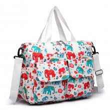 E6603NEW-E - Miss Lulu Matte Oilcloth Maternity Baby Changing Bag Set Elephant Beige