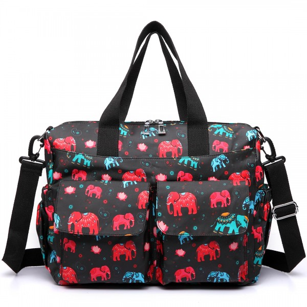 E6603NEW-E - Miss Lulu Matte Oilcloth Maternity Baby Changing Bag Set Elephant Black