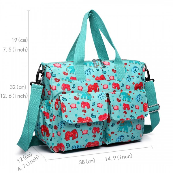 E6603NEW-E - Miss Lulu Matte Oilcloth Maternity Baby Changing Bag Set Elephant Light Blue
