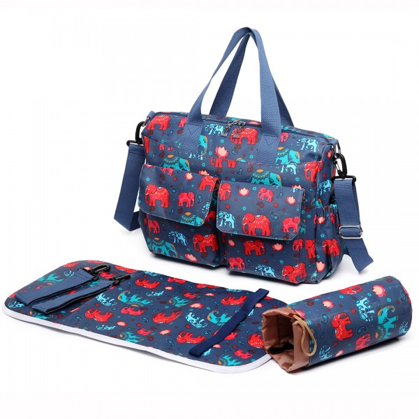 E6603NEW-E - Miss Lulu Matte Oilcloth Maternity Baby Changing Bag Set Elephant Navy