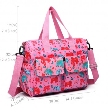 E6603NEW-E - Miss Lulu Matte Oilcloth Maternity Baby Changing Bag Set Elephant Pink