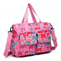 E6603NEW E-Wipe Clean Mat bebé Pañal cambio de alfombra bolsa de pañales Conjunto de maternidad elefante rosa