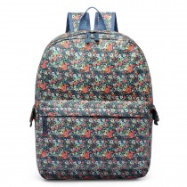 E6605F - Miss Lulu Matte Oilcloth Flower Pattern Backpack Blue