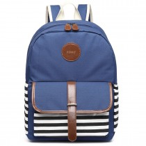 E6607-Miss Lulu stripe print  Fabric Polyester backpack navy