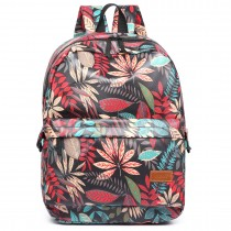 E6608-miss lulu matte oilcloth leaf pattern backpack black