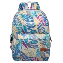 E6608-miss lulu matte oilcloth leaf pattern backpack light grey
