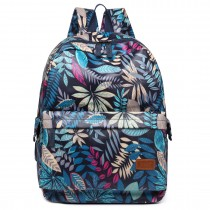 E6608-miss lulu matte oilcloth leaf pattern backpack navy