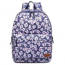 E6609 - Miss Lulu MatteOilclothFlower Pattern Backpack Blue